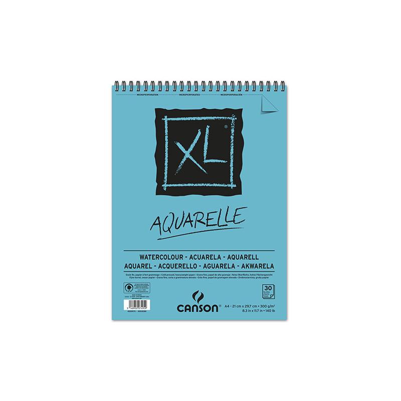 CANSON XL BLOC SPIRALE AQUARELLE 300G GRAIN FIN A4 30F BLANC