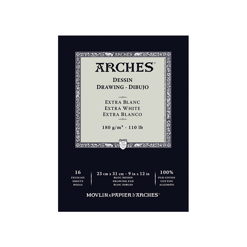 ARCHES DESSIN BLOC 180G EXTRA BLANC 23X31CM 16F