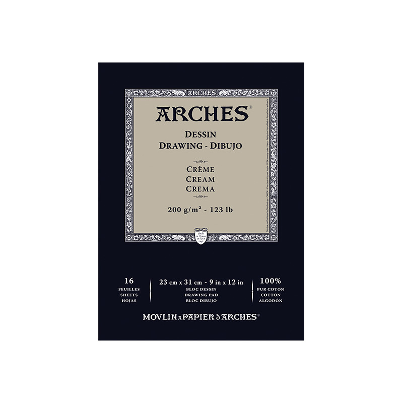ARCHES DESSIN BLOC 200G CREME 23X31CM 16F