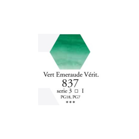 SENNELIER AQUA EXTRA FINE TUBE 10ML S3 837 VERT EMERAUDE VÉRIT.