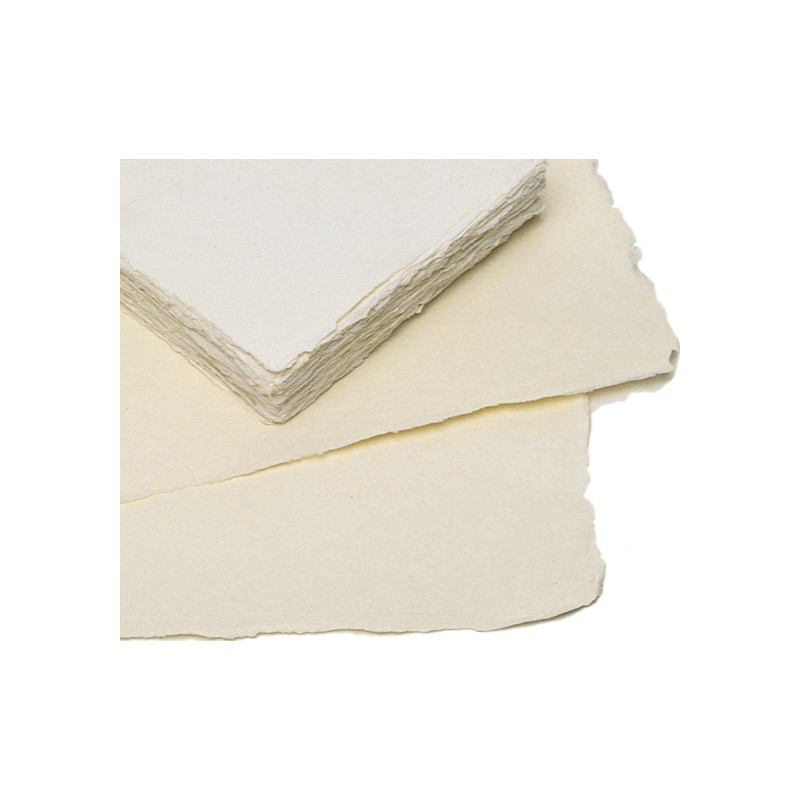 Papier aquarelle aux bords frangés fait main 140 g/m²