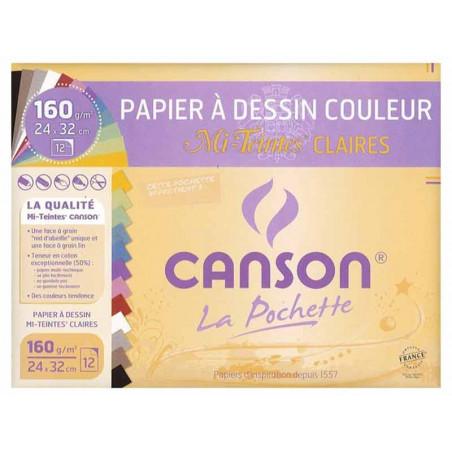 CANSON POCHETTE MI-TEINTE PASTEL 160G 24X32CM 12F