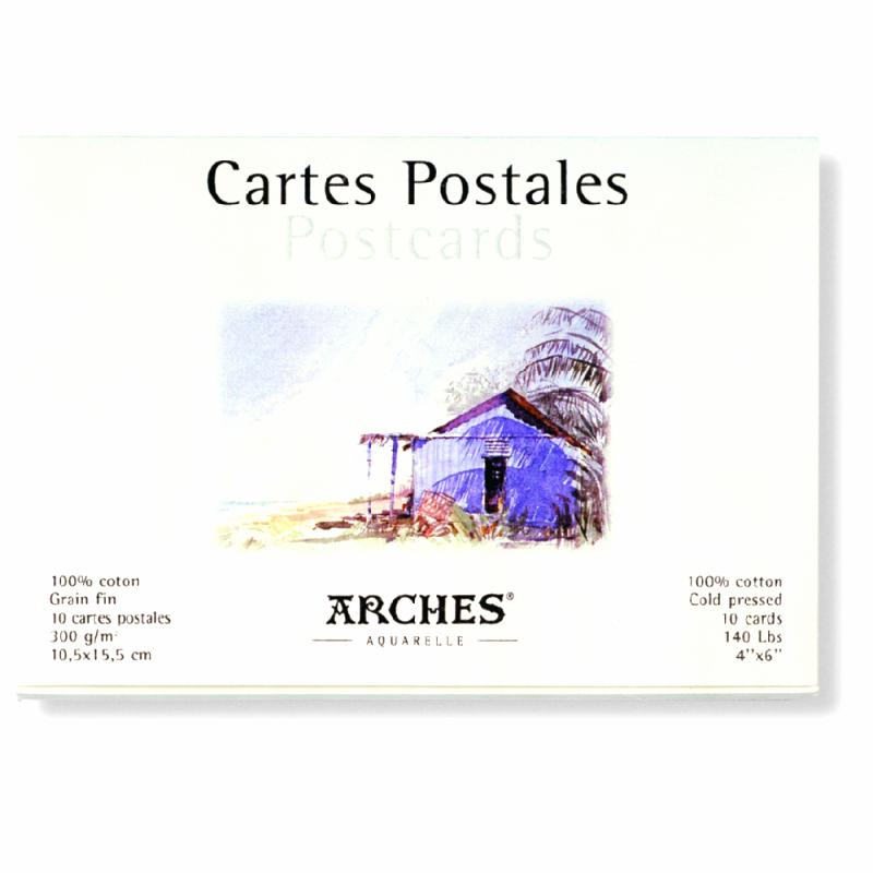 Bloc de 10 cartes postales pour aquarelle Arches