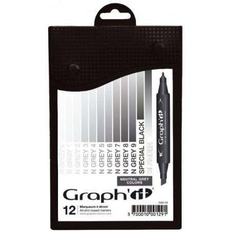 GRAPH'IT SET 12 MARQUEURS GRIS NEUTRES