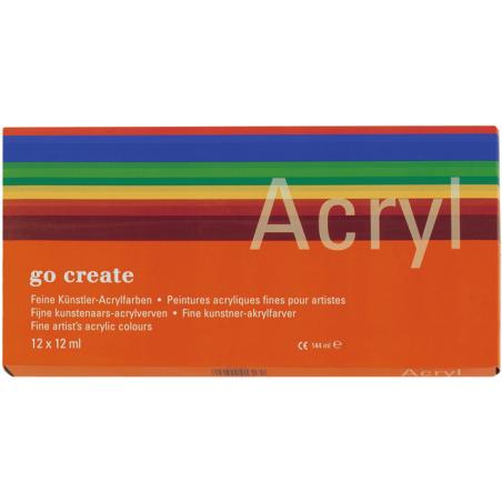 Set de 12 tubes de peinture acrylique