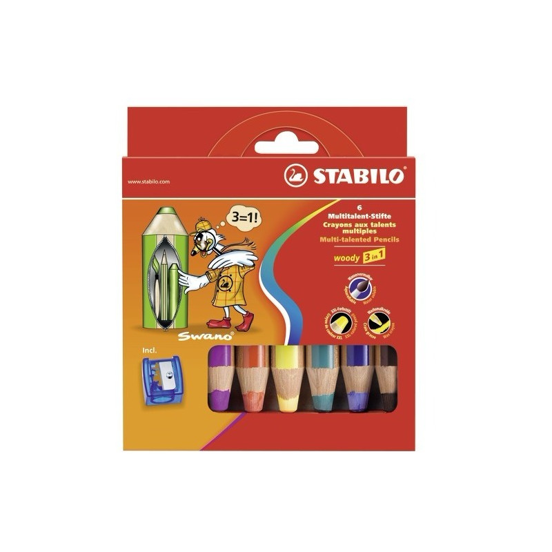 Stabilo woody crayon de couleur aquarellable assortiment