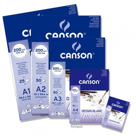 CANSON IMAGINE BLOC 200G A1 BLANC 25F