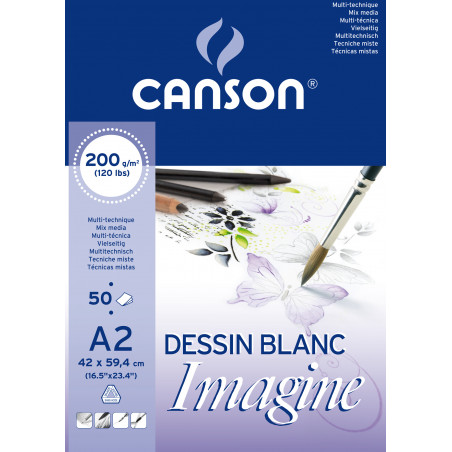 CANSON IMAGINE BLOC 50FL A2 200G BLANC