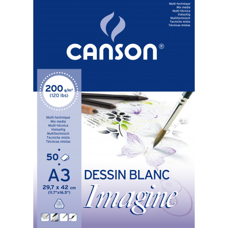 CANSON IMAGINE BLOC 50F A3 200G BLANC