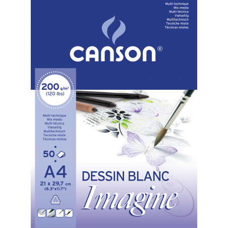 CANSON IMAGINE BLOC 50F A4 200G BLANC