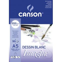 CANSON IMAGINE BLOC 200G A5 BLANC 50F