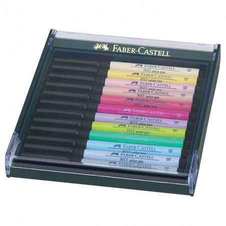 FABER CASTELL BOX PITT ARTIST PEN BRUSH 12 FEUTRES PASTEL