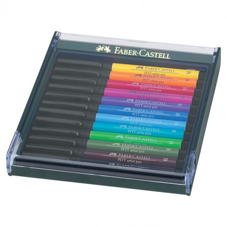 FABER CASTELL BOX PITT ARTIST PEN BRUSH 12 FEUTRES BASIC