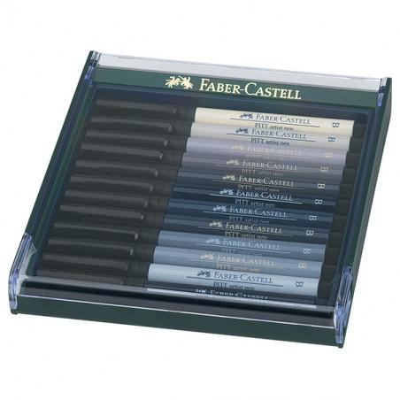 FABER CASTELL BOX PITT ARTIST PEN BRUSH 12 FEUTRES GRIS
