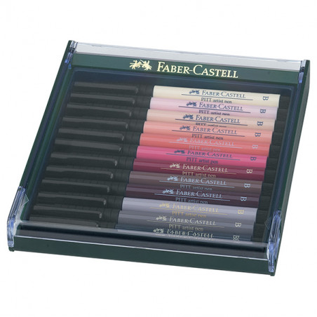 FABER CASTELL BOX PITT ARTIST PEN BRUSH 12 FEUTRES CHAIR