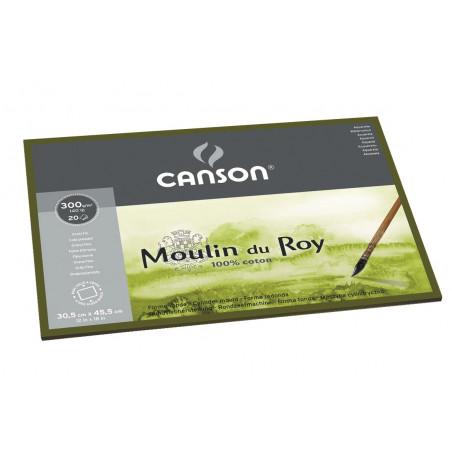 CANSON MOULIN DU ROY BLOC 1 COTE 300G GF 24X32CM 12F
