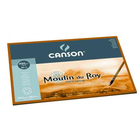 CANSON MOULIN DU ROY BLOC 1 COTE 300G GT 24X32CM 12F