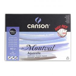 CANSON BLOC MONTVAL COL GRD COTE 300G GRAIN FIN 24X32 100 FL