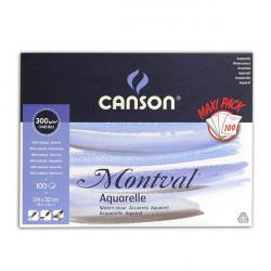 CANSON BLOC MONTVAL COL GRD COTE 300G GRAIN FIN A3 100 FL/PROMO......