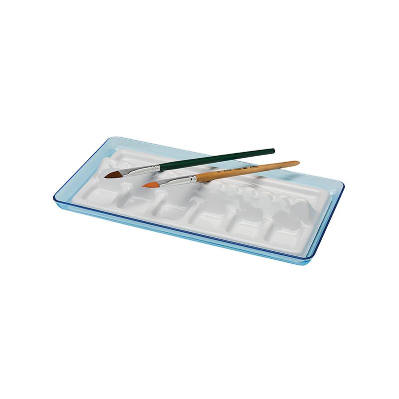 Palette plastique avec compartiment pour pinceau