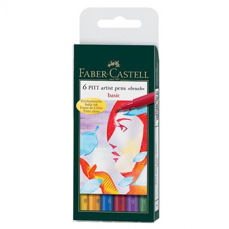 FABER CASTELL PITT 6 FEUTRES ARTIST PEN BASIC