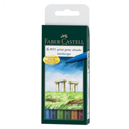 FABER CASTELL PITT 6 FEUTRES ARTIST PEN CAMPAGNE