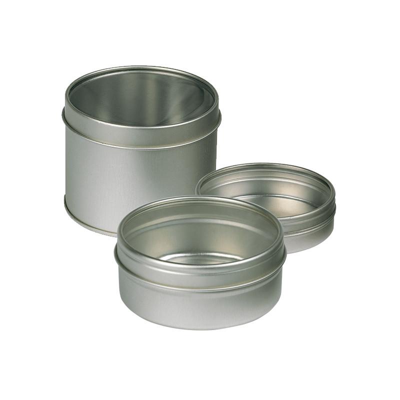 Boîte ronde métallique de rangement pour crayons ou peinture