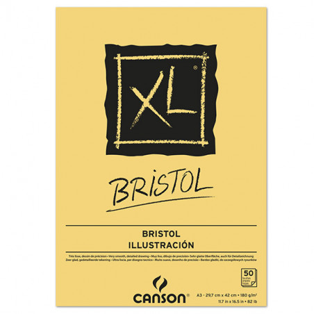CANSON XL BLOC COLLE  BRISTOL 180G A3 50F BLANC