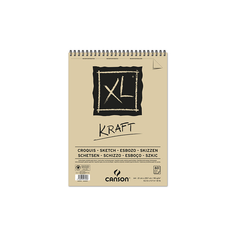 CANSON XL BLOC SPIRALE KRAFT 90G A4 60F
