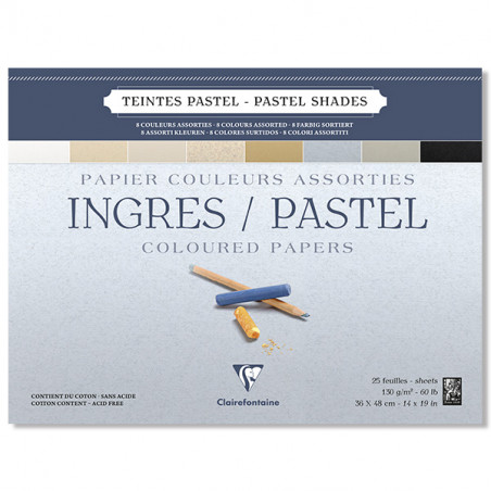 CLAIREFONTAINE BLOC INGRES PASTEL CLAIRS 130G 36X48CM 25F/A EFFACER