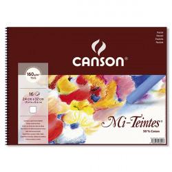 CANSON BLOC SPIRALE MI TEINTE 24X32CM NID D'ABEILLE BLANC