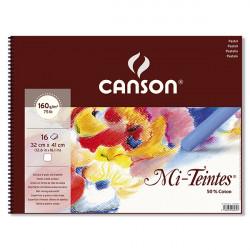 CANSON BLOC SPIRALE MI TEINTE 160G/M² 32X41CM BLANC 16F