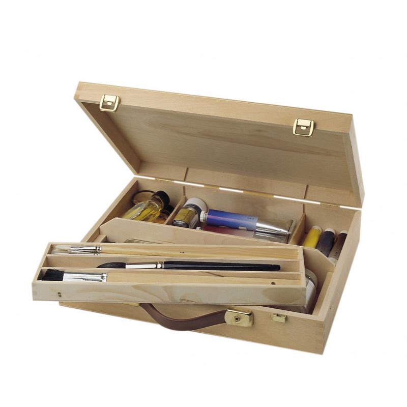 Coffret en bois avec poignée de transport et fermeture en cuivre