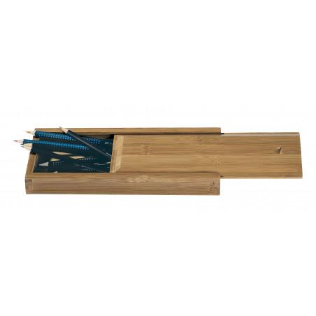 Boîte en bambou pour crayons et pinceaux