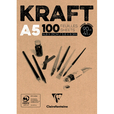 BLOC COLLE KRAFT BRUN A5 100F 90G