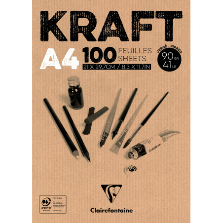 BLOC COLLE KRAFT BRUN A4 100F 90G