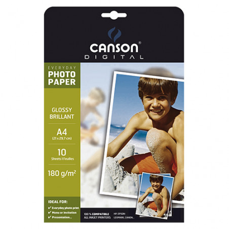 POCH 10FL  EVERYDAY CANSON  A4 180G PHOTO BRILLANT