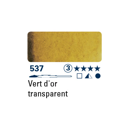 SCHMINCKE AQUARELLE HORADAM S3 537 1/2 GODET OR VERT TRANSPARENT