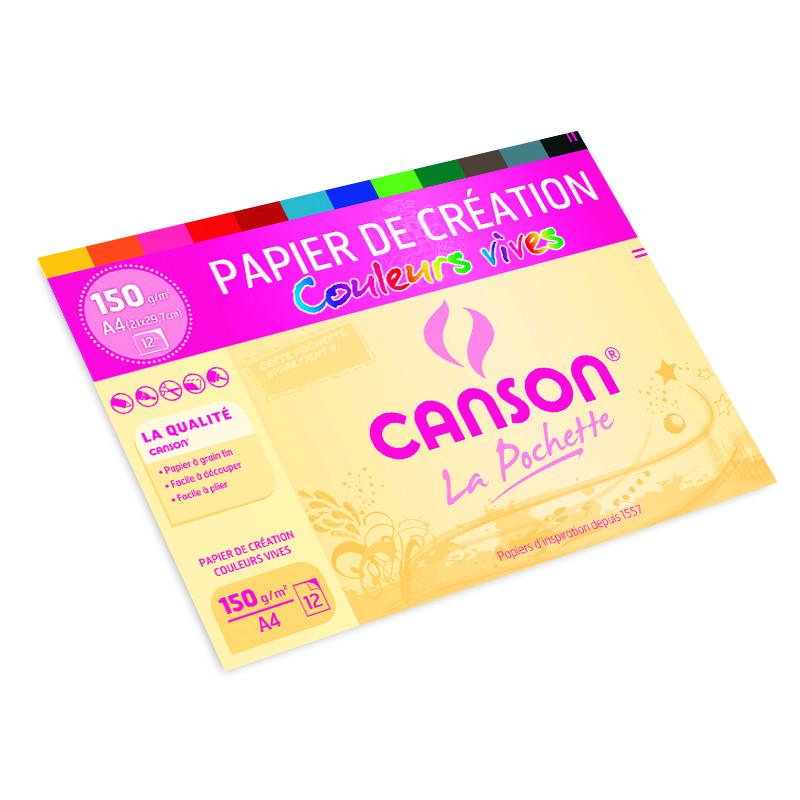 Pochette papier création couleurs vives Canson