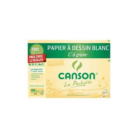 """Pochette papier à dessin blanc C """"à grain 180 g/m2"""