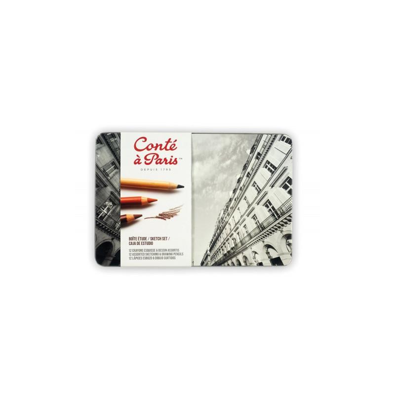 Boîte en métal Conté à Paris — Crayons à Esquisse et dessin