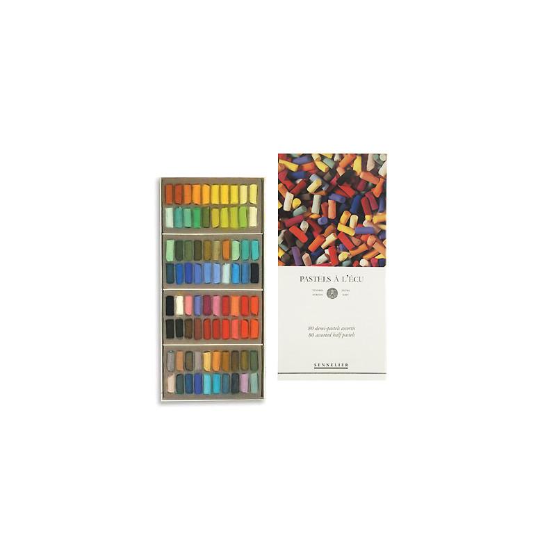 Boîte de 80 demi-pastels tendres à l'écu