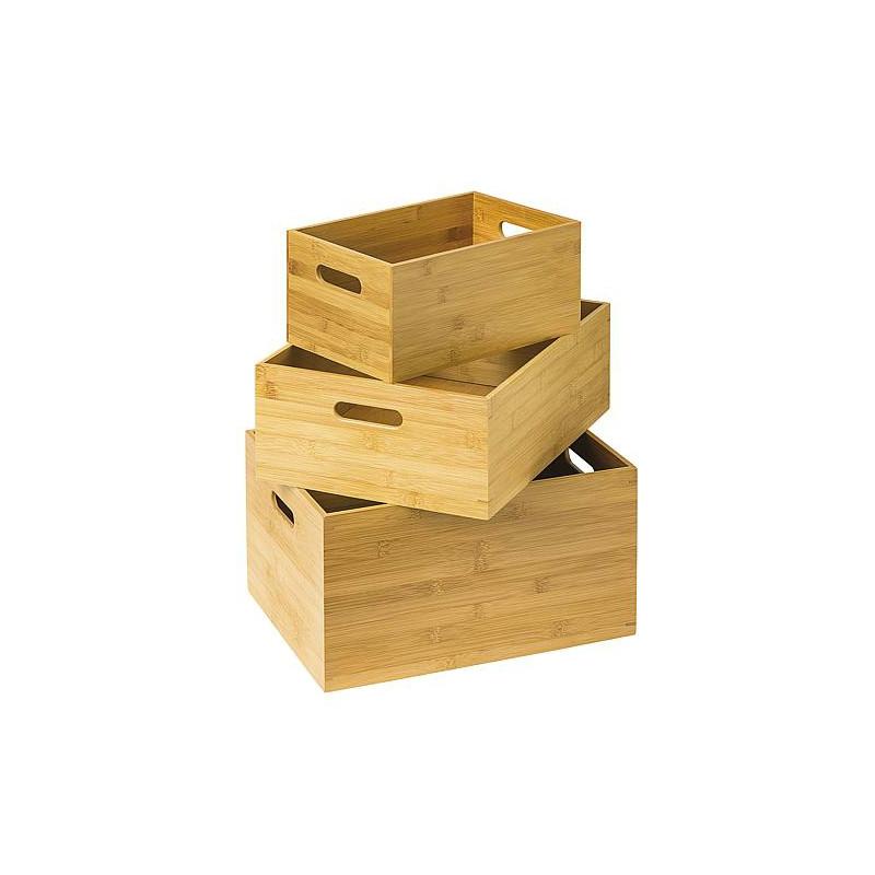 Boîte de rangement en bois de bambou