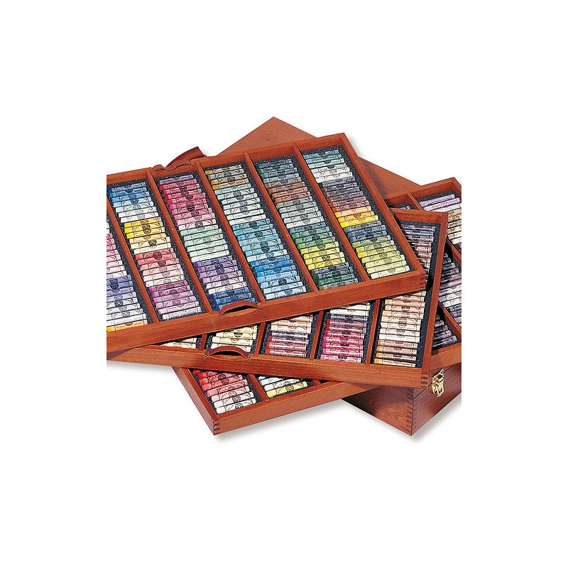 Grand coffret en bois de 525 pastels tendres à l'écu