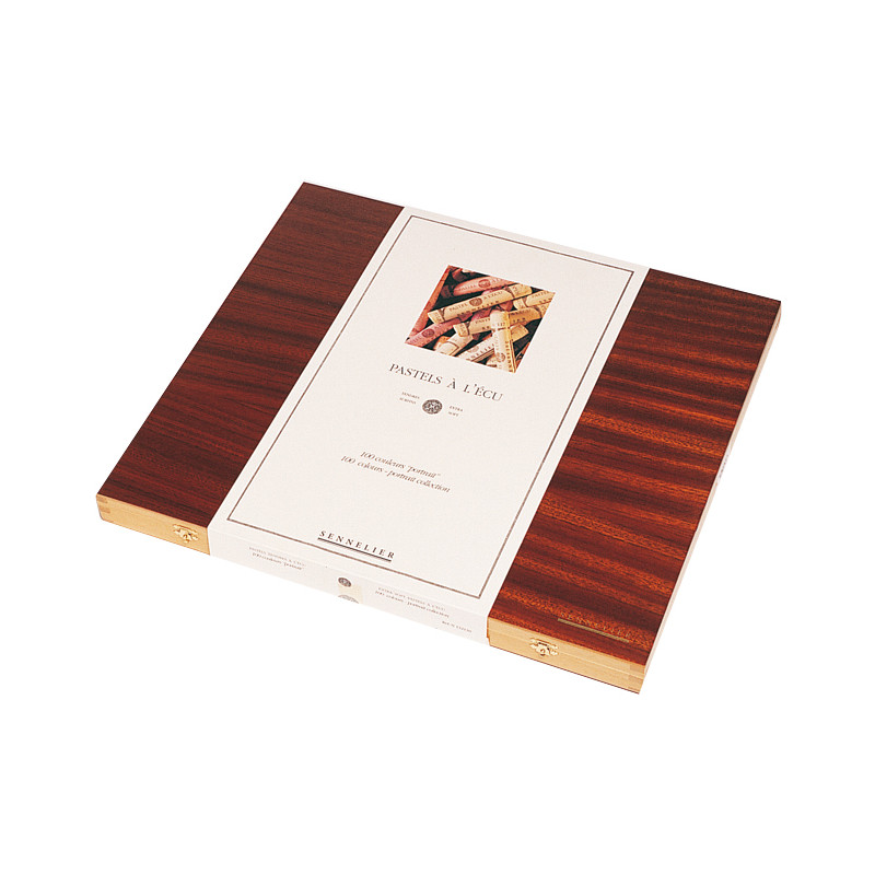 Coffret bois garni de 100 pastels tendres à l'écu — «Portrait»