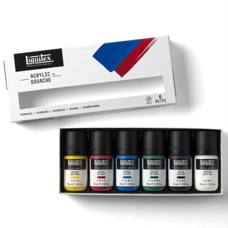 Set 6x59ml Liquitex acryl gouache couleur primaire –mailing mai