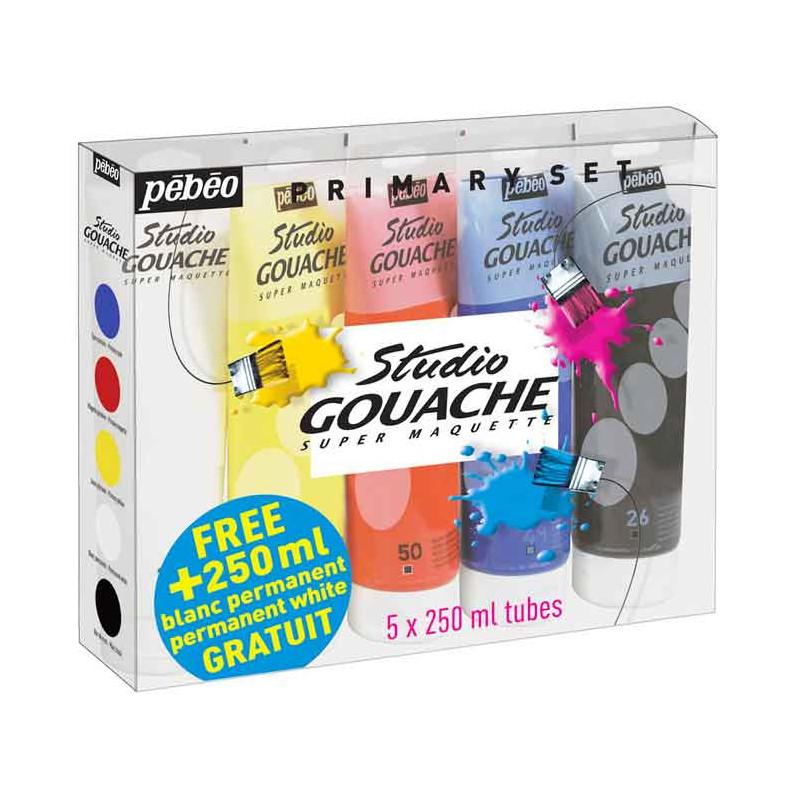 Assortiment de 5 tubes gouache 250 ml Pébéo - coloris primaire