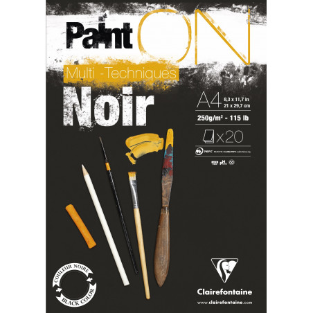 BLOC PAINT ON NOIR COLLE EN TETE 20F 250G A4