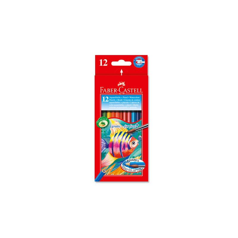 Etui carton 12 crayons de couleur aqua motif poisson