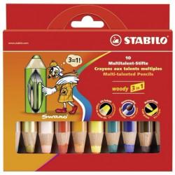 STABILO CRAYON WOODY 3 EN 1 BOITE DE 10